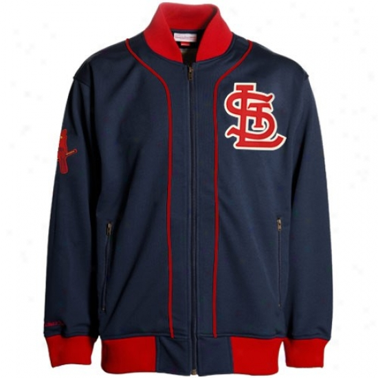 St. Louis Cardinals Jackets : Mitchell & Ness St Louis Cardinals Navy Blue Sportsman Throwback Jackets