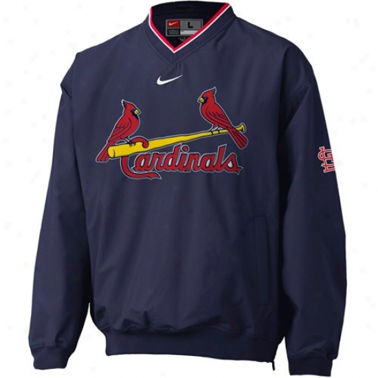 St. Louis Cardinals Jackets : Nike St Louis Cardinals Ships of war Blue Staff Ace Pullover