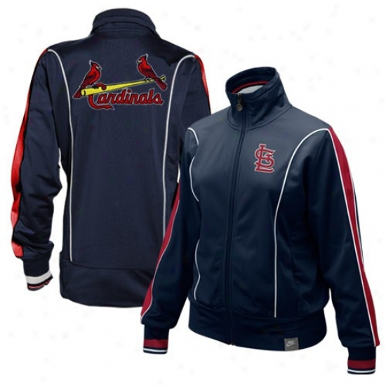 St. Louis Cradinals Jackets : Nike St. Louis Cardinals Ladies Navy Blue Lovely Full Zip Jackets