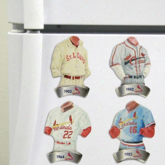 St Louis Cardinals Jersey Evolution 4-pack Magnets