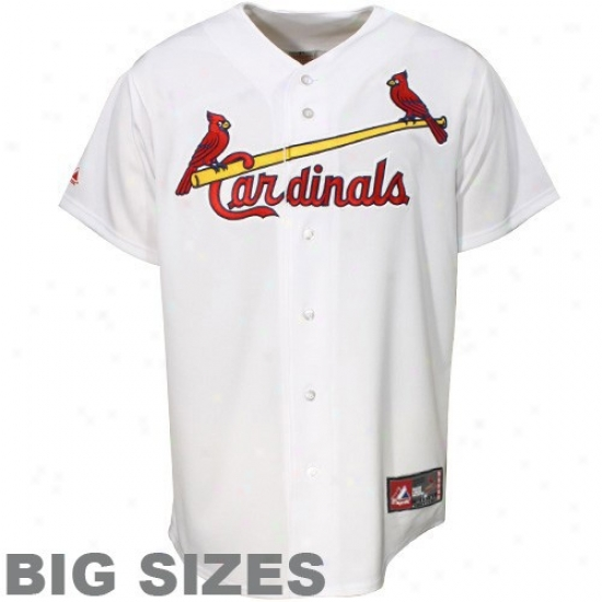 St. Louis Cardinals Jersey : Majestic St. Louis Cardinals White Big Sizes Replica Baseball Jersey