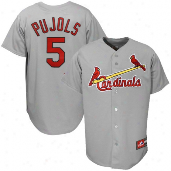 St. Louis Cardinals Jersey : Majestic St Louis Cardinals #5 Albert Pujols Grey Replica Baseball Jersey