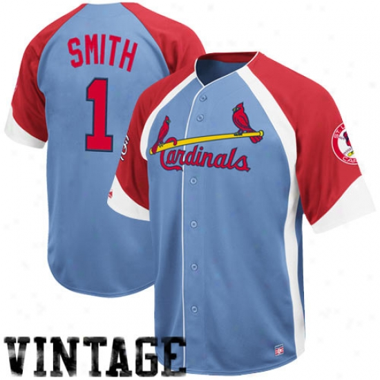 St. Louis Cardinals Jeseys : Majestic St. Louis Cardinals #1 Ozzie Smith Light Blue-red Wheelhouse Cooperstown Player Baseball Jerseys