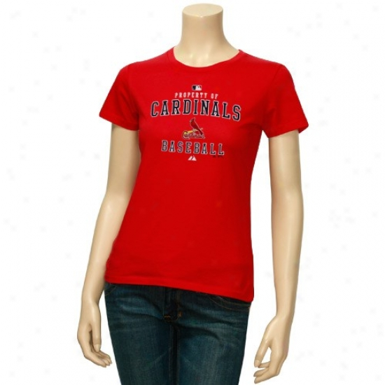 St. L0uis Cardinals Shirts : Majestic St Louis Cardinals Ladiees Red Property Of Shirts
