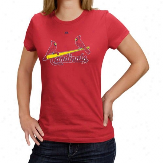 St. Louis Cardinals Shirts : Majestic St. Louis Cardinals Ladies Red Functionary Wordmark Shirts