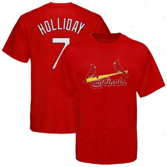 St. Louis Cardinals Shirts : Majestic Sg. Louis Cardinals #7 Matt Holliday Youth Red Player Shirts