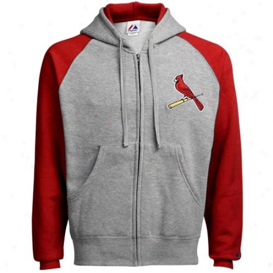 St. Louis Cardinals Stuff: Splendid St Louis Cardinals Ash Classic Fuull Zip Hoody Sweatshirt
