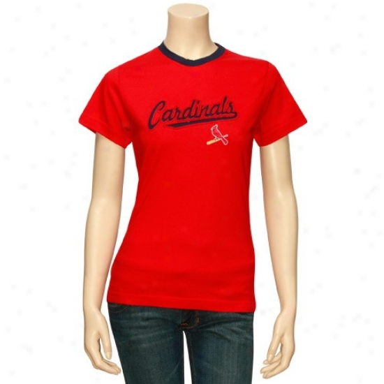 St. Louis Cardinals T Shirt : Majestic St Louis Cardinals Ladies Red Girlfriend T Shirt