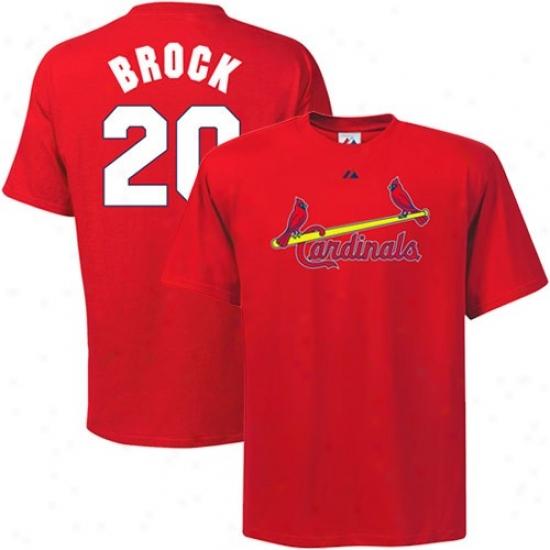 St. Louis Cardinals T-shirt : August St. Louis Cardinals #20 Lou Brock Red Cooperstown Player T-shirt