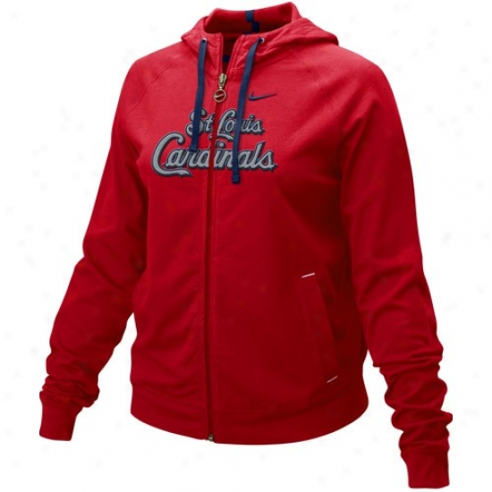 St. Louis Cardinals T Shirt : Nike St. Louis Cardinals Ladies Red Cover Up Full Zip Hoody Sweatshirt