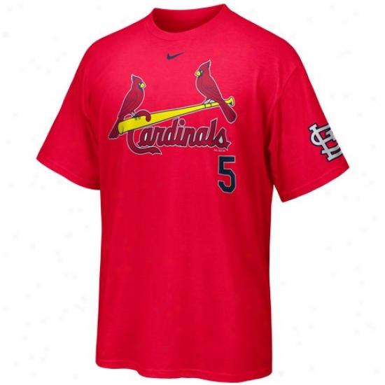 St. Louis Cardinals T Shirt : Nikr St. Louis Caridnals #5 Albert Pujols Red Player T Shirt