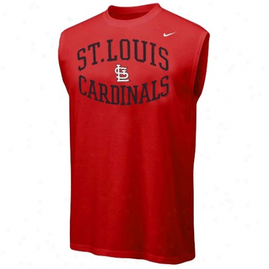 St. Louis Cardinals T Shirt : Nike St. Louis Cardinals Red Team Logo Sleeveless T Shirt