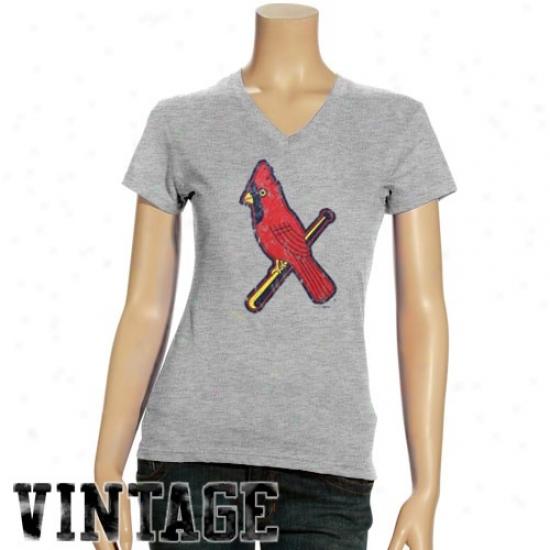 St. Louis Cardinals Tee : St. Louis Cardinals Ladies Ash Triblend V-neck Vintage Tee