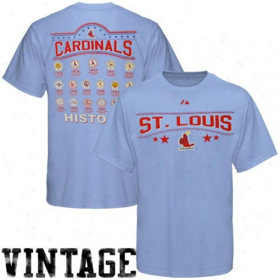 St. Lois Cardinals Tees : Majestic St. Louis Cardinals Light Blue All Time Save Cooperstown Tees