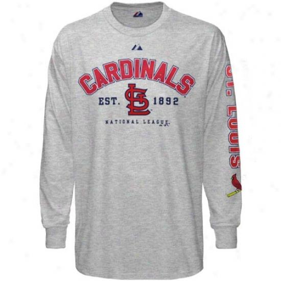 St. Louis Cardinals Tshidt : Majestic St. Louis Cardinals Ash Base Stealer Long Sleeve Tshirt