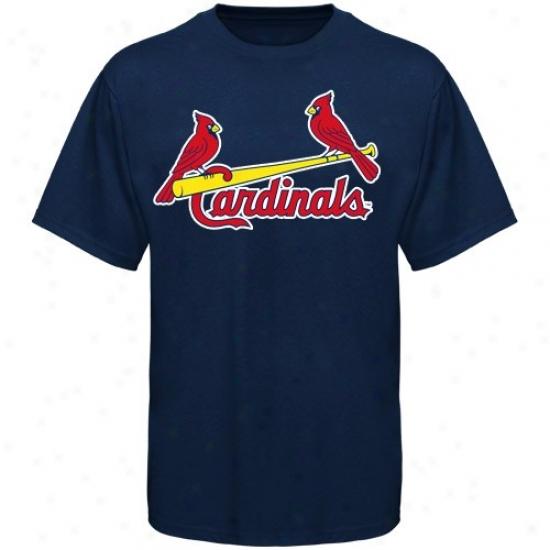 St. Louis Cardinals Tshirt : Majestic St. Louis Cardinals Juvenility Navy Blue Official Wordmark Tshirt