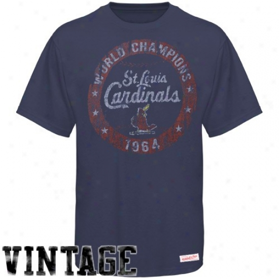 St. Louis Cardinals Tshirt : Mitchell & Ness St. Louis Cardinals Navy Blue Retro 1964 World Series Cooperstown Prmium Tshirt