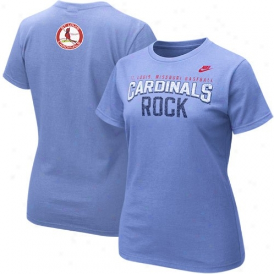 St. Louis Cardinals Tshirt : Nike St Louis Cardinals Ladies Ligth Blue Cooperstown Rock Tshirt