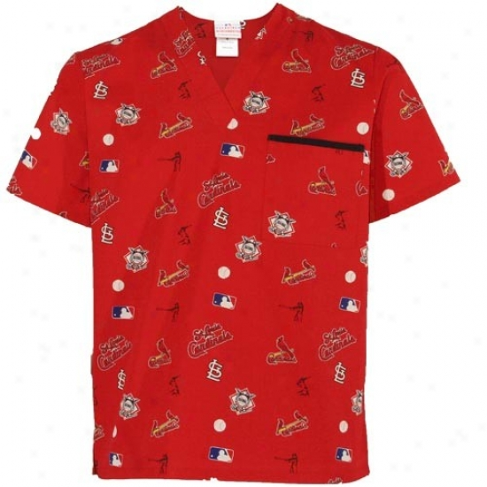 St. Louis Cardinals Tshirt : St Louis Cardinals Red The whole of Across Print Scrub Top