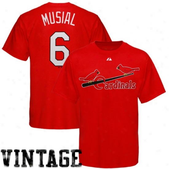 St. Louis Cardinals Tshirts : Majestic St. Louis Cardinals #6 Stan Musial Red Cooperstown Player Tshirts