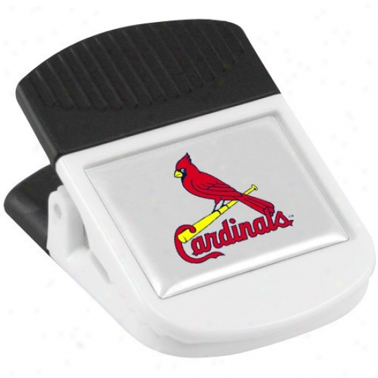 St Louis Cardinals White Magnetic Chip Spring-clasp