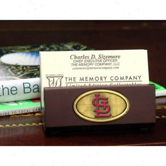 St Louis Cardinals Wooden Business Card Holder