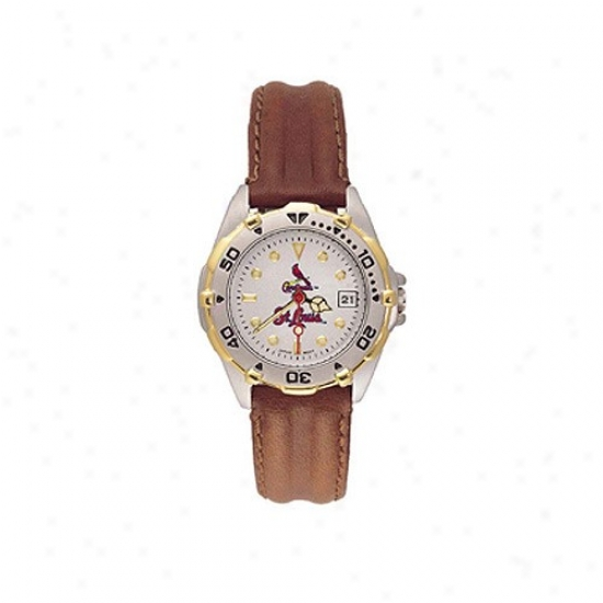 St. Louis Cardinals Wrist Watch : St. Louis Cardinals Ladies All-star Wrist Inspection W/learher Band