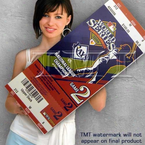Tampa Bay Rays 2008 World Series Game 2 Canvas Mega Ticket