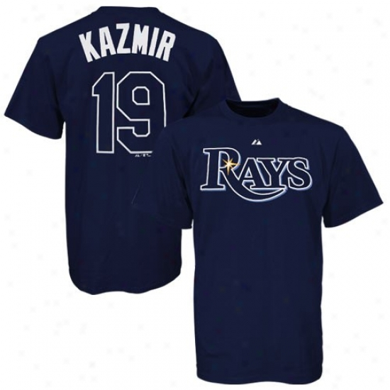 Tampa Bay Rays Apparel: Majestic Tampa Bay Rays #19 Scott Ka2mir Navy Blue Player T-shirt