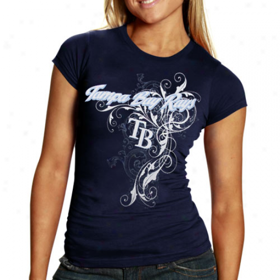 Tampa Bay Rays Apparel: Tampa Bay Rays Ladies Navy Blue Tattoo T-shirt
