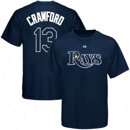 Tampa Bay Rayq Attire: Majestic Tampa Bay Rays #13 Carl Crawford Navy Blue Young men Player T-shirt