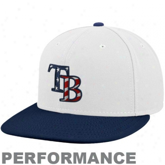 Tampa Bay Rays Match : New Era Tampa Bay Rays White-navy Blue Stars & Stripes On-field 59fifty Fitted Performance Cap