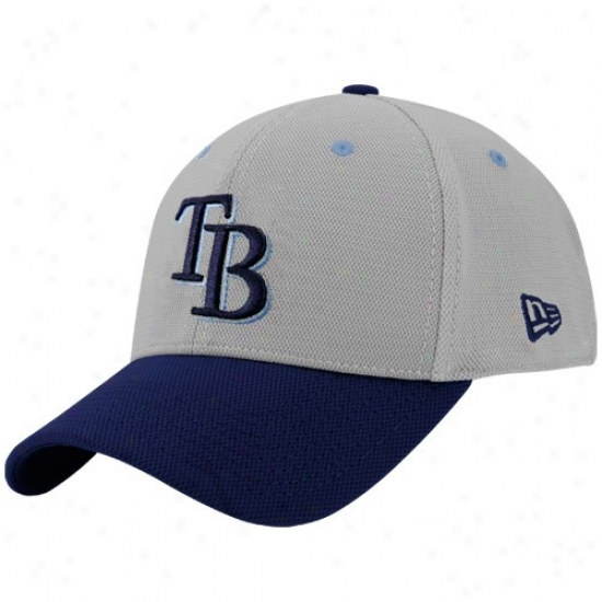 Tampa Bay Rays Gear: New Era Tampa Bay Raye Gray Max 39thirty Stretch Fit Hat