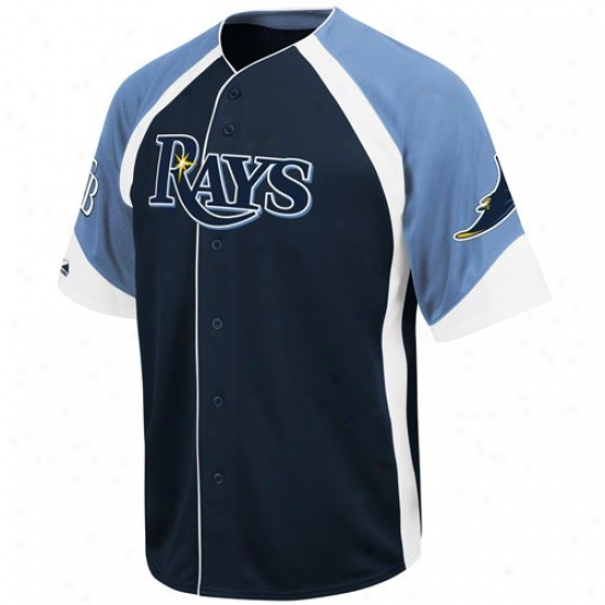 Tampa Bay Rays Jersey : Majestic Tampa Bay Rays Navy Blue-light Blue Wheelhouse Baseball Jersey