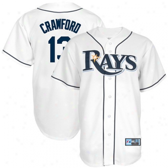 Tampa Bay Rays Jerseys : Elevated Tampa Bay Rays #13 Carl Crawford White Replica Baseball Jerseys