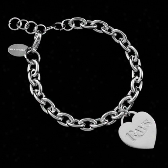 Tampa Bay Rays Ladies Silverr Heart Charm Bracelet