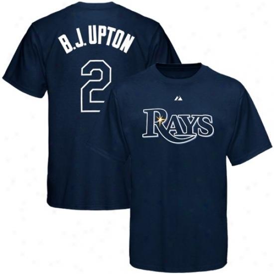 Tampa Bay Rays Shirts : Majestic Tampa Baywood Rays #2 B.j. Upton Navy Blue Youth Player Shirts