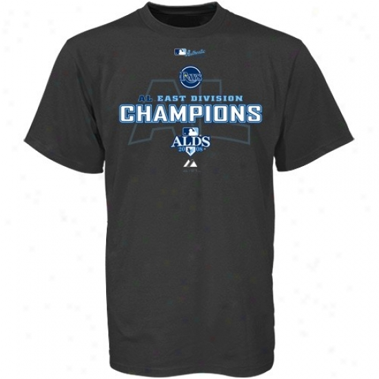 Tampa Bay Rays Shirts : Majsetic Tampa Bay Rays Youth Charcoal 2008 American League East Division Champs Clubhouse Attention Grabber Shirts