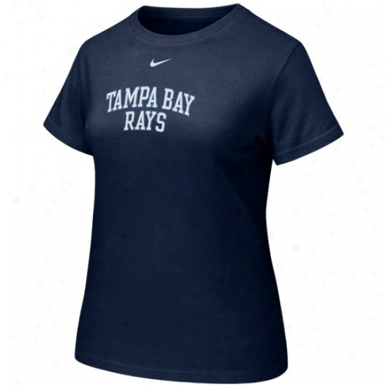 Tampa Bay Rays Shirts : Nike Tampa Bay Rays Ladies Navy Blue Arch Crew Shirts