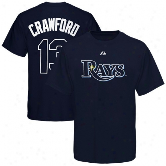 Tampa Bay Raya T Shirt : Majestic Tampa Bay Rays #13 Carl Crawford Navy Blue Playe rName & Number T Shirt