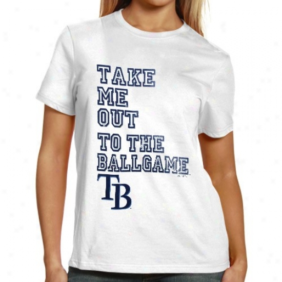 Tampa Bay RaysT ees : Majestic Tampa Bay Rays Ladies White Take Me Out Tees