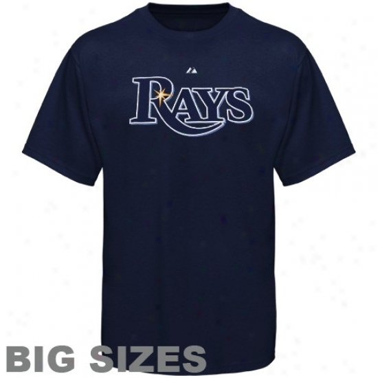 Tampa Bay Rays Tees : Majestic Tampa Bay Rays Navy Blue Team Logo Big Sizes Tees