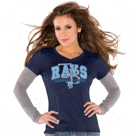 Tampa Bay Rays Tshirt : Meet By Alyssa Milano Tampa Bay Rays Ladies Navy Blue Double V Triblend Premium Tshirt