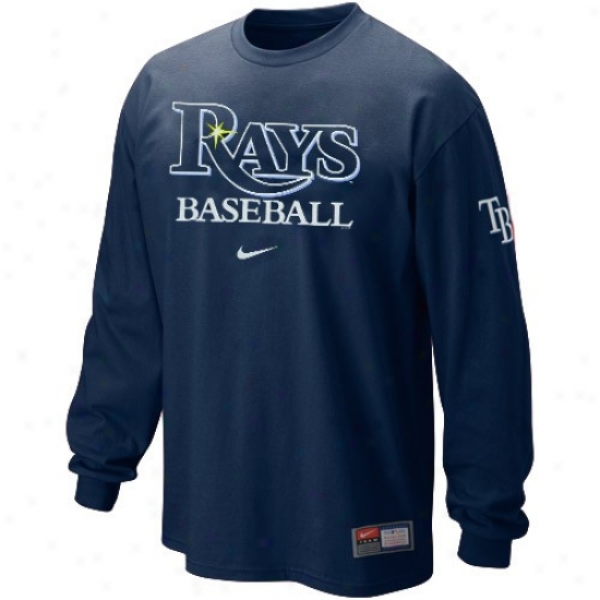 Tampa Bay Rays Tshirts : Nuke Tampa Bay Rays Navy Blue Mlb Practice Long Sleeve Tshirts