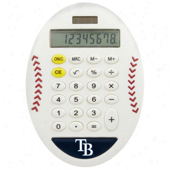 Tampa Bay Rays White Baseball Pro-grip Calculator