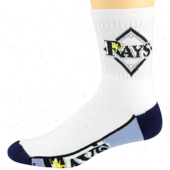 Tampa Bay Rays White Team Logo Bottom Quarter Socks