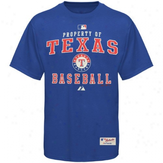 Texas Rahgers Apparel: Majestic Texas Rangers Royal Blue Property Of Heavyaeight T-shirt