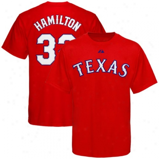 Texas Rangers Attire: Majestic Texas Rangers #32 Josh Hamilton Youth Red Player T-shirt