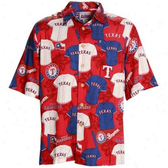 Texas Rangers Clothes: Texas Rangers Red Scenic Print Hawaiian Polo