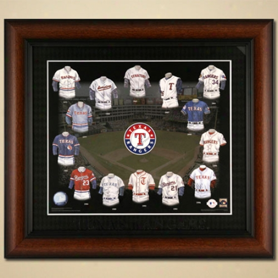 Texas Rangers Evolution Of The Team Uniform Framed Picture